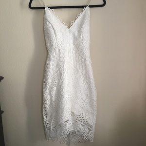 ASTR The Label White Lace Midi Dress
